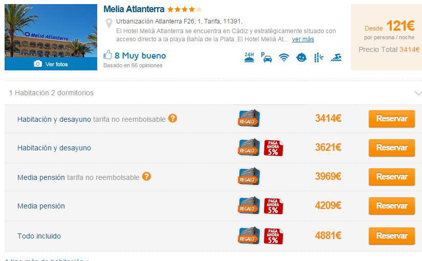 ofertas hoteles zahara de los atunes agosto