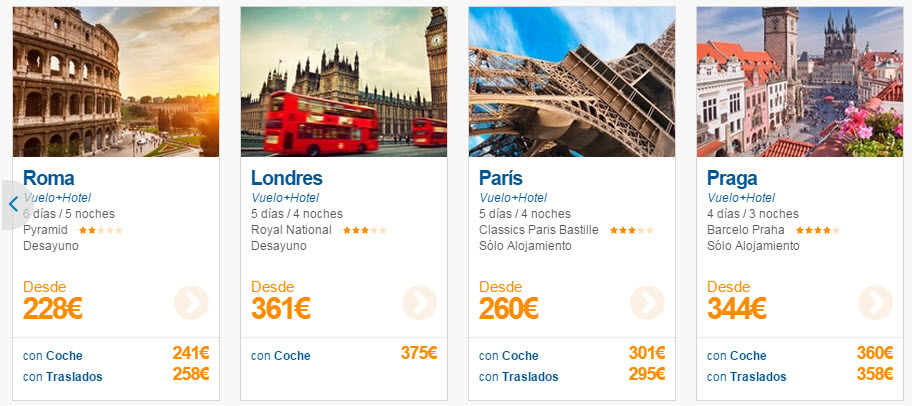 ofertas vuelo mas hotel octubre 2015