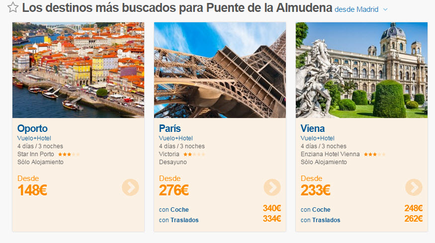 vuelo mas hotel ultima hora Puente de la Almudena