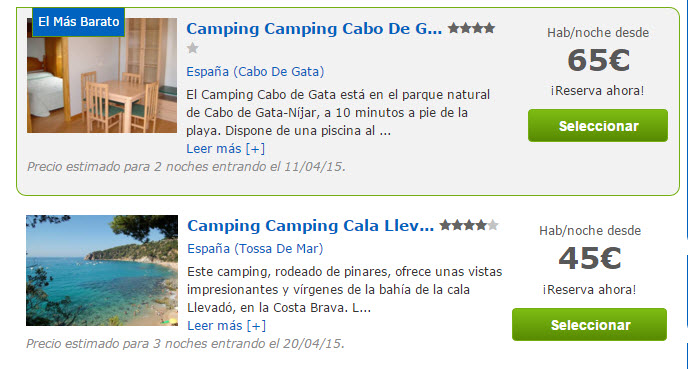 campings online España 2016