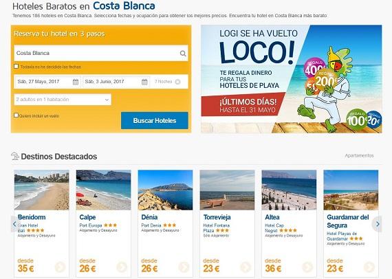 Hoteles de playa agosto Costa Blanca