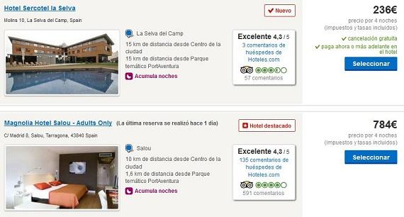 Hoteles de playa agosto Costa Dorada